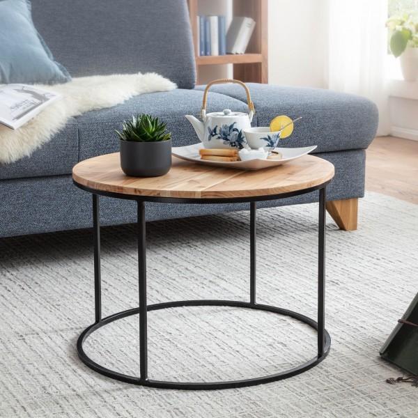Wohnling Design Couchtisch 60 cm Rund Akazie Massivholz / Metall