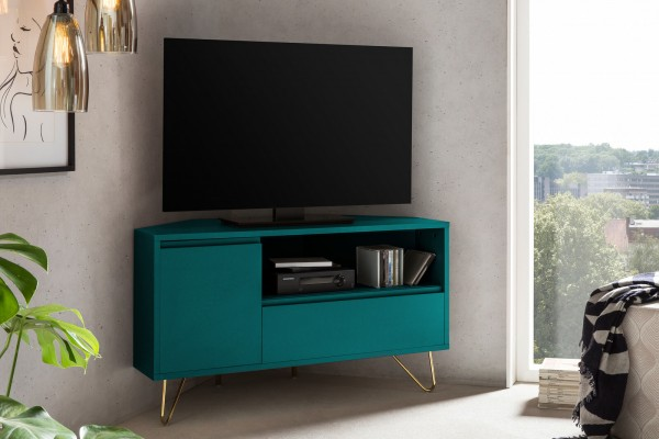 SalesFever TV Board Eckschrank, Beine aus Metall mit Messinglegierung blau