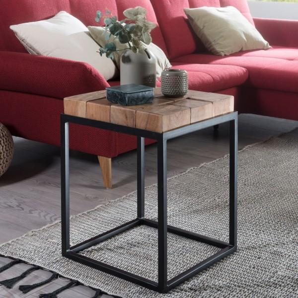 WOHNLING Beistelltisch ANDUR 39x56x39cm Akazie / Metall Couchtisch Massivholz | Wohnzimmertisch