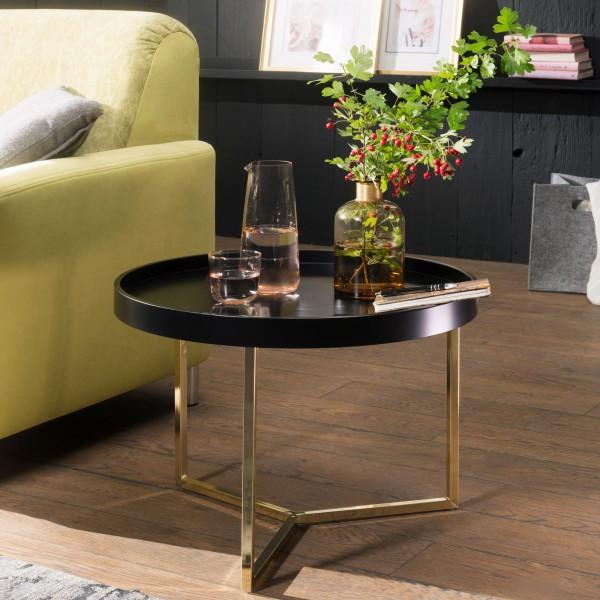WOHNLING Couchtisch EVA 58,5 cm Schwarz / Gold Sofatisch Metall Rund | Designer Retro