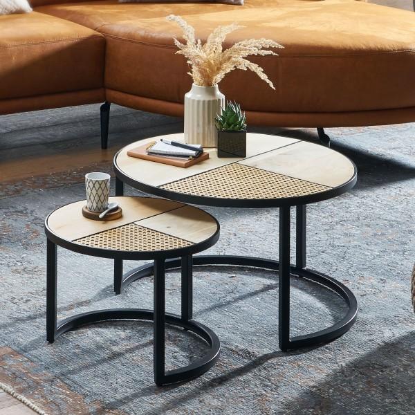 Wohnling Design Wohnzimmertisch 2er Set Mango / Rattan Beistelltisch Rund | Couchtisch