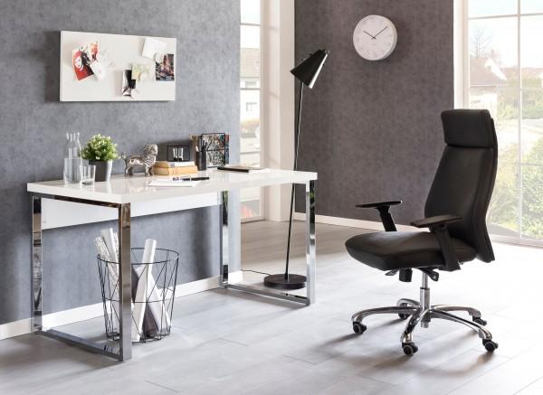 WOHNLING Design Schreibtisch CARLIE 140x70x76 cm Groß Weiß Hochglanz Computertisch   Bürotisch