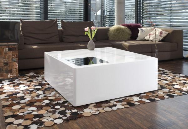 Couchtisch quadratisch 100x100x45 cm - weiß mit Schwarzglas Element