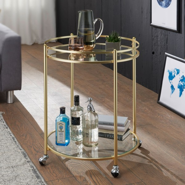 WOHNLING Design Servierwagen JAMES Gold Ø 57 cm Beistelltisch | Teewagen Metall mit Rollen WL5.792