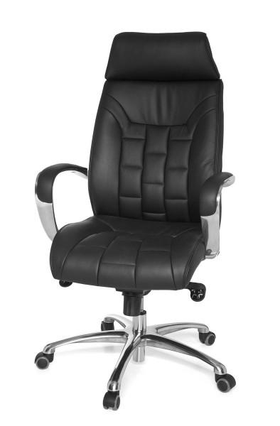 AMSTYLE Bürostuhl TURIN Echtleder schwarz bis 120kg Schreibtischstuhl Wippfunktion Chefsessel