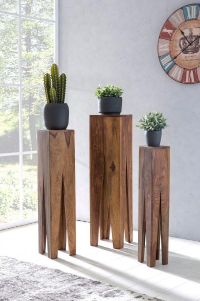 WOHNLING Beistelltisch 3er Set Massivholz Sheesham Design Säulen
