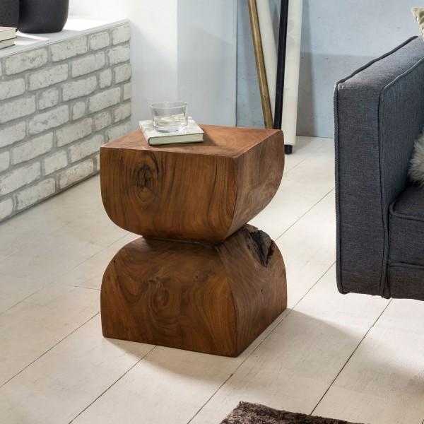 WOHNLING Beistelltisch WL1.562 Sheesham Vollholz 30x45x30cm Rustikaler Deko-Tisch | Blumentisch Holz