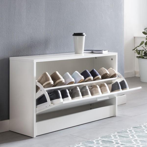 Schuhbank mit Sitzfläche Weiß Schuhkipper Holz 80 cm