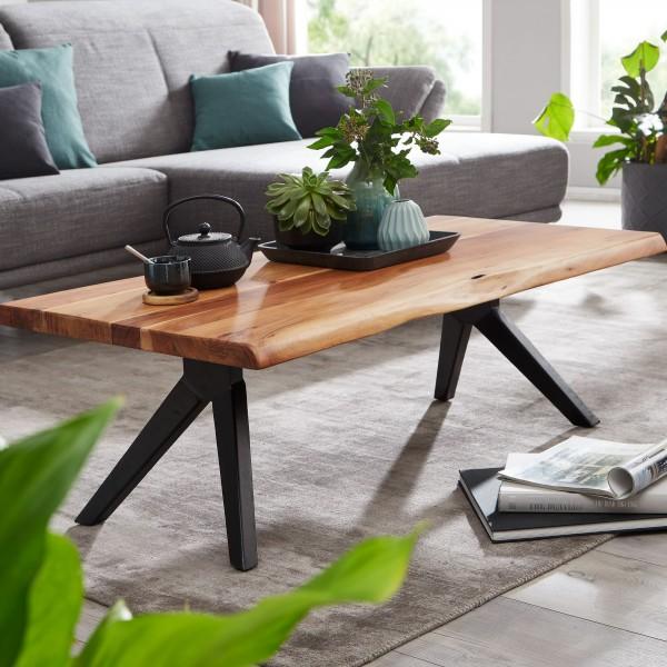 Design Couchtisch 115 cm Akazie Massivholz / Metall Baumkante