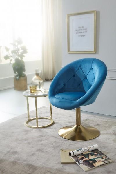 WOHNLING Design Loungesessel WL6.301 Samt Blau / Gold Design Drehstuhl