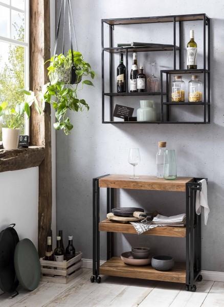 SIT Möbel Küchenwagen   auf Rollen   3 Böden Akazie natur   Altmetall antikschwarz   B 80 cm
