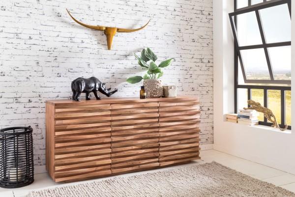 WOHNLING Sideboard KADA 160 x 75 x 43 cm Massiv-Holz Akazie Natur Baumkante Anrichte | Landhaus-Stil