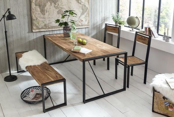 SIT Möbel Stuhl Panama 2er-Set   Akazie massiv natur   Altmetall antikschwarz
