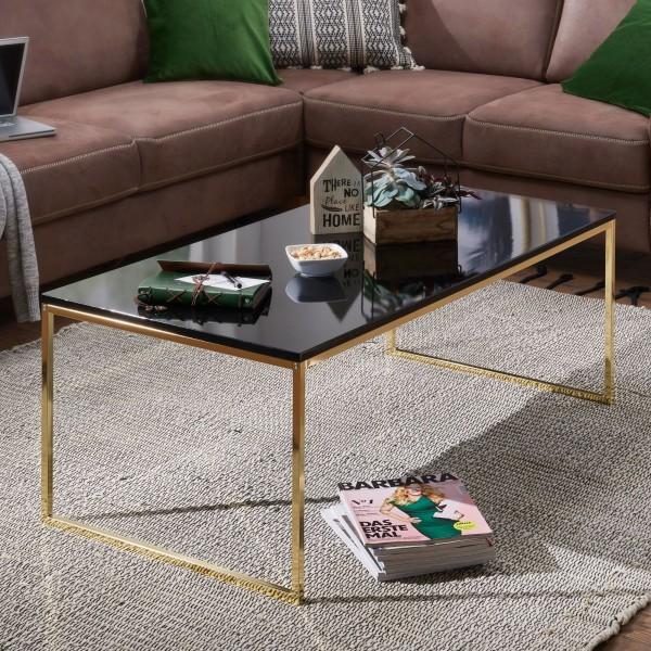 WOHNLING Couchtisch RIVA 120x45x60 cm Metall Holz Sofatisch Schwarz / Gold | Design Wohnzimmertisch