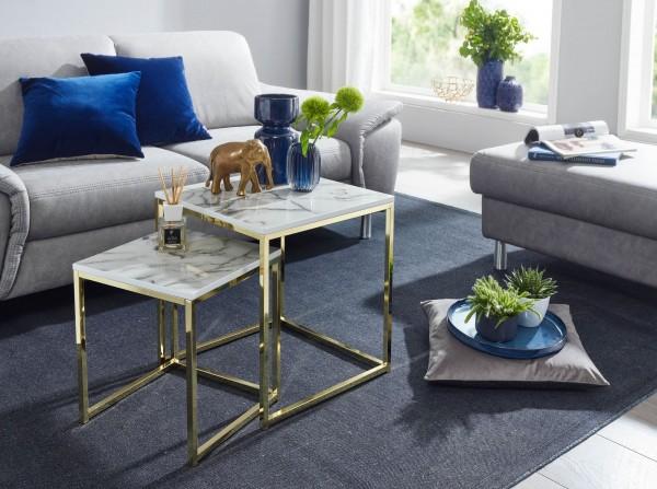 WOHNLING Design Beistelltisch 2er Set Couchtisch Weiß Gold
