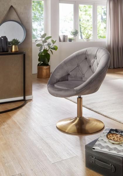 WOHNLING Design Loungesessel WL6.299 Samt Grau / Gold Design