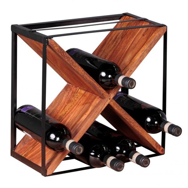 WOHNLING Weinregal AKOLA Massiv-Holz Sheesham Flaschenregal Standregal für ca. 16 Flaschen
