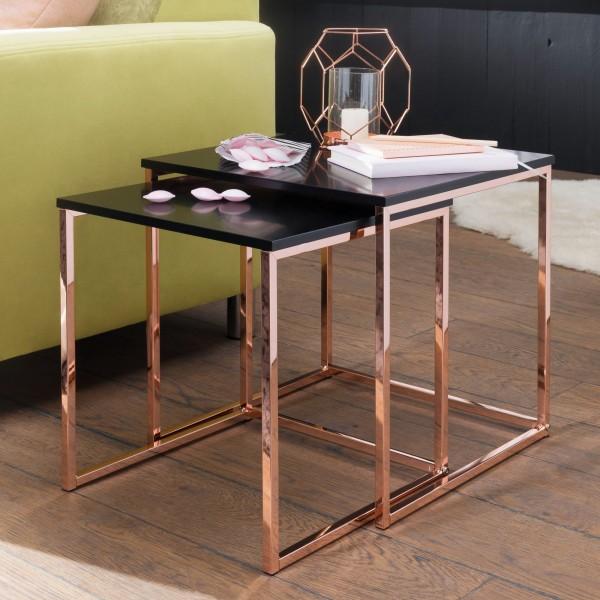 WOHNLING Satztisch CALA Schwarz / Kupfer Beistelltisch MDF / Metall | Couchtisch Set aus 2 Tischen |