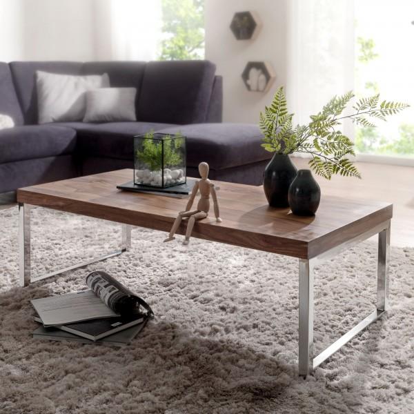 WOHNLING Couchtisch GUNA Massiv-Holz Sheesham 120cm breit Wohnzimmer-Tisch Design dunkel-braun
