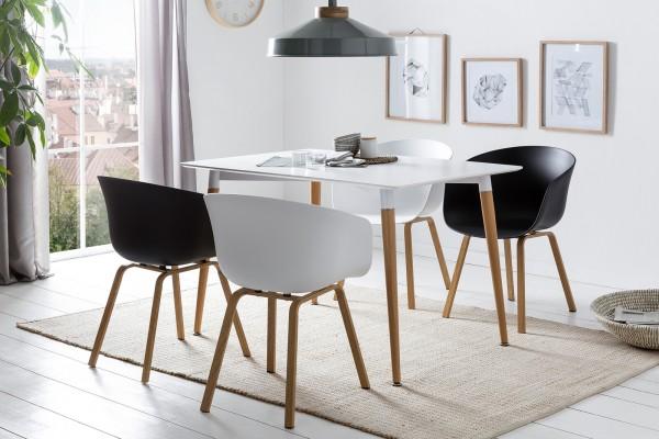 SalesFever Essgruppe 5-tlg. 120 x 80 cm mit 4x Stühle weiß – schwarz