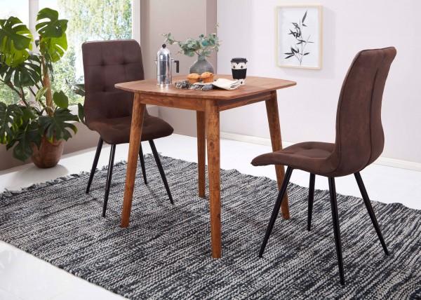 WOHNLING Esszimmertisch WL5.571 Sheesham 80x78x80 cm Massivholz Tisch   Designer Küchentisch Holz  