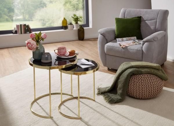 WOHNLING Design Satztisch CORA Schwarz/Gold Beistelltisch Metall/Glas | Couchtisch Set aus 2 Tischen