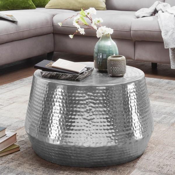 WOHNLING Couchtisch MAHESH 60x36x60 cm Aluminium Beistelltisch Silber Orientalisch Rund | Flacher Ha