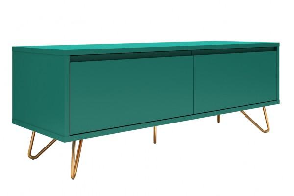Lowboard mit Schublade und Klappfach, matt grün