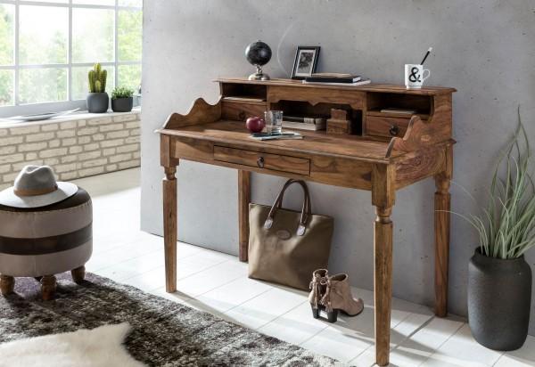 WOHNLING Schreibtisch KADA Massivholz Sekretär 115 cm mit 3 Schubladen