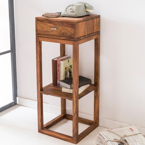 WOHNLING Beistelltisch MUMBAI Massivholz Sheesham 35 x 35 cm Telefontisch mit Schublade
