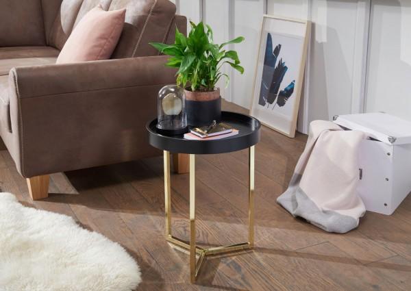 WOHNLING Design Beistelltisch EVA 40x51x40cm Couchtisch Rund Schwarz / Gold | Designer Tabletttisch