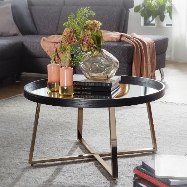 WOHNLING Design Couchtisch Rund Ø 78 cm Dunkel-Gold mit Spiegel Glasplatte | Wohnzimmertisch Schwarz