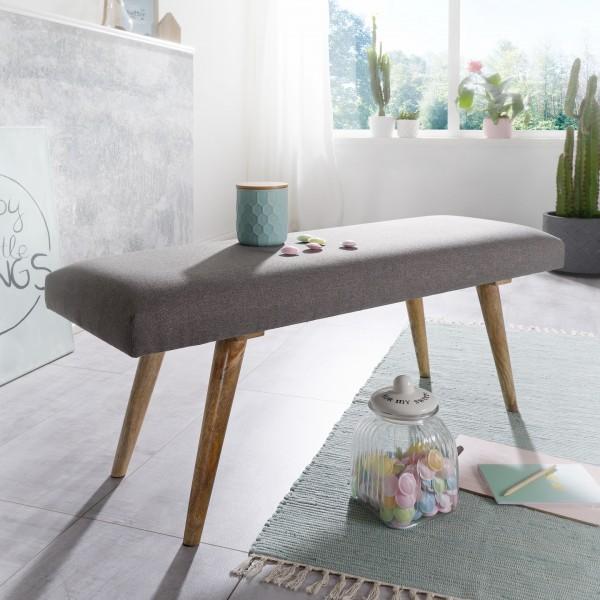 WOHNLING Sitzbank SALIM Stoff / Massivholz Grau 117 cm im Retro Stil