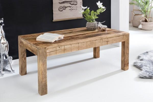 WOHNLING Couchtisch RUSTICA 110 x 60 x 47 cm Massiv-Holz Mango Natur | Landhaus-Stil Wohnzimmertisch