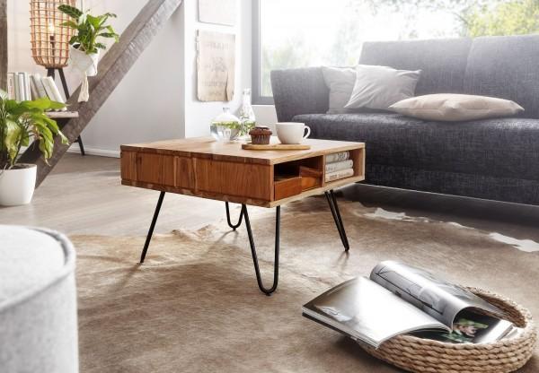 Design Couchtisch WL6.367 - 60x60 cm Akazie Massivholz / Metall, Eckig