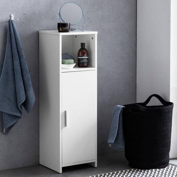 WOHNLING Badschrank 30 x 95,5 x 30 cm weiß Holz mit Tür und Ablagefach   Kleiner Bad-Schrank Beistel