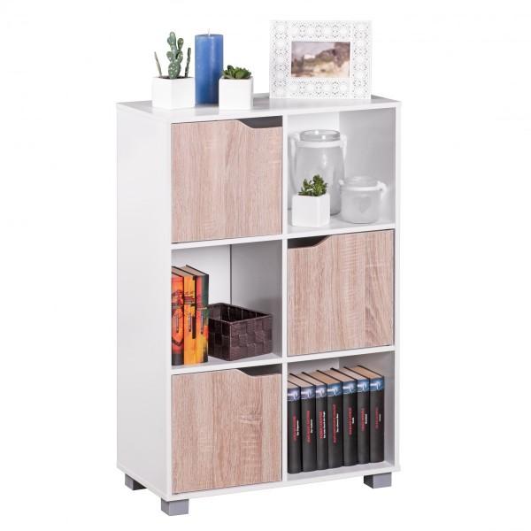 Bücherregal 90 cm SAMO Modern Holz Weiß mit Türen Sonoma Eiche