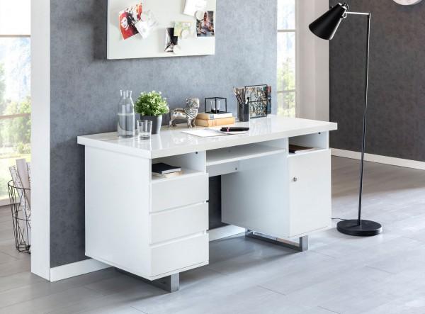 WOHNLING Schreibtisch SALLY 140x76x60 cm Groß Weiß Hochglanz Computertisch | Bürotisch 140 cm Breit