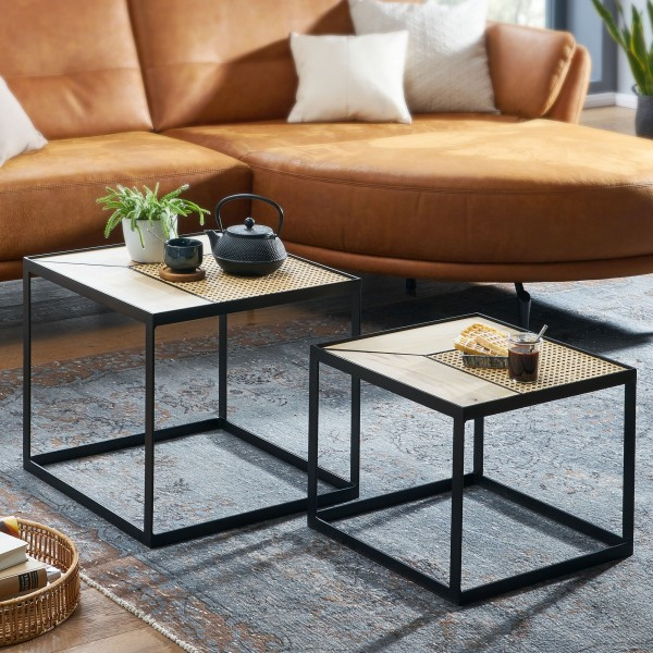 Wohnling Design Wohnzimmertisch 2er Set Mango / Rattan Beistelltisch Eckig | Couchtisch