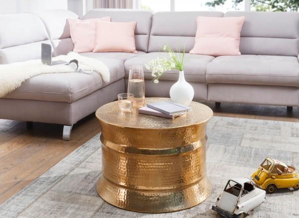 WOHNLING Couchtisch KARAM 62x41x62cm Aluminium Gold Beistelltisch orientalisch rund | Hammerschlag
