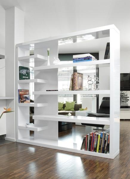 SalesFever Regal Raumteiler 200 cm| Hochglanz lackiert B 200 x T 35 x H 200 cm weiß