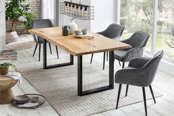 SalesFever Esstisch Baumkante 160 x 90 cm Metall schwarz