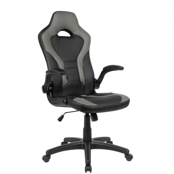 AMSTYLE Gaming-Drehstuhl SPM1.418 Schwarz/Grau, Schreibtischstuhl bis 120 kg
