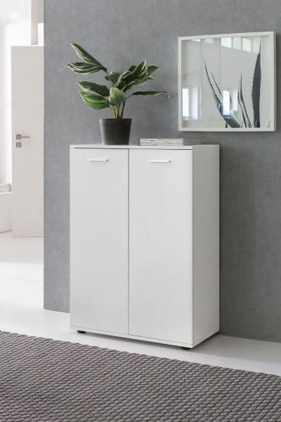 WOHNLING Kommode SVENJA mit 2 Türen 71x104x35cm Mehrzweckschrank Holz Weiß | Flurschrank
