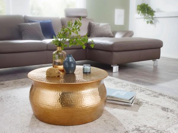 WOHNLING Couchtisch KARAM 60x30,5x60 cm Aluminium Gold Beistelltisch orientalisch rund