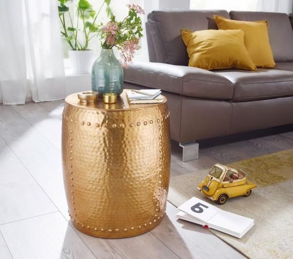 WOHNLING Beistelltisch PEDRO 42x49x42cm Aluminium Gold Dekotisch orientalisch rund | Hammerschlag
