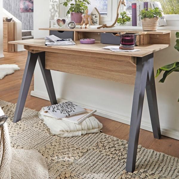 WOHNLING Design Schreibtisch mit Schubladen SAMO Bürotisch Sonoma / Weiß 120 cm | Kleiner Nähtisch
