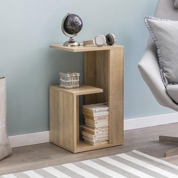WOHNLING Beistelltisch 35 cm Holz Sonoma Design Anstelltisch Sofa