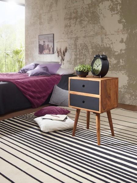 WOHNLING Retro Nachtkonsole REPA / Sheesham-Holz Nachttisch mit 2 Schubladen dunkelbraun / schwarz  
