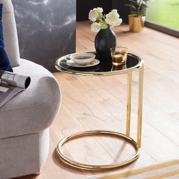 WOHNLING Design Beistelltisch LEONA Ø 45 cm Couchtisch Rund Schwarz/Matt Gold | Designer Glas